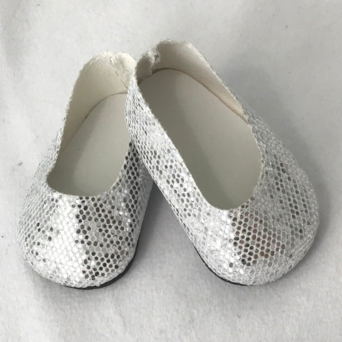 Silver shoes fit 18 Inch and American Girl Dolls