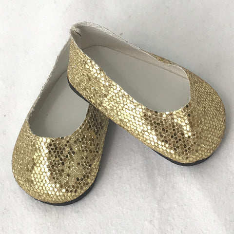Gold shoes fit 18 Inch and American Girl Dolls