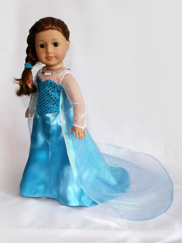 Disney Princess Snow Queen Elsa (Frozen) dress for American Girl Doll