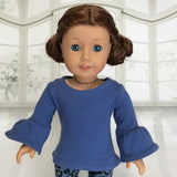 Long sleeve blue top fit American girl doll