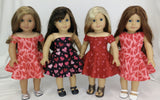 Valentine's Day Dress for American Girl Dolls Red Off Shoulders