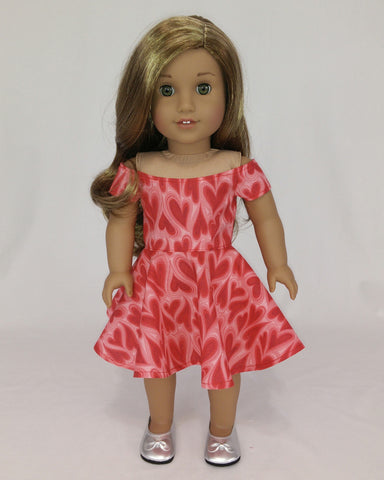 Valentine's Day Dress for American Girl Dolls Pink Off Shoulders