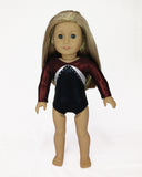 Gymnastics Leotard Black Red Silver for American Girl and 18inch Dolls