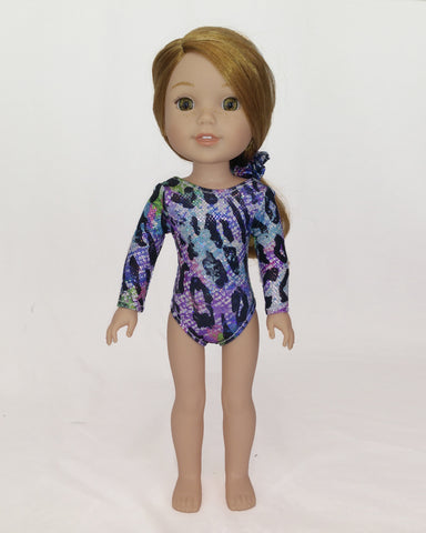Gymnastics Leotard Leopad Print for Willie Wishers Dolls