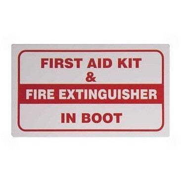 First Aid Kit & Fire Extinguisher In Boot.... Taxi Sticker - Taxi-Mart Shop