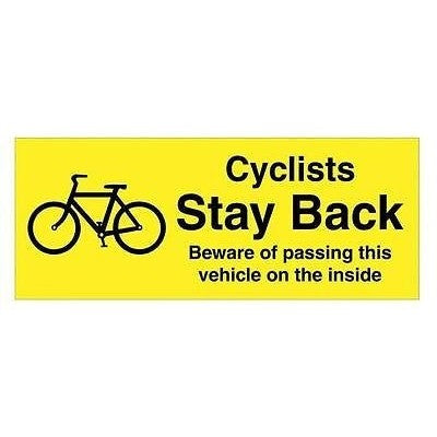 Cyclists Stay Back... Sticker For Cars, Vans, Lorries HGV - Taxi-Mart Shop
