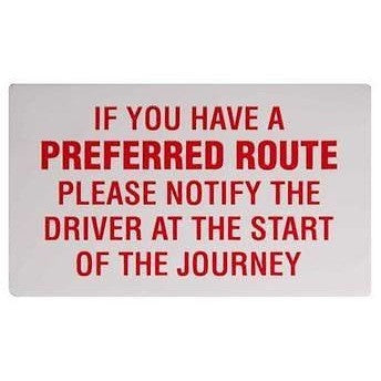 If You Have a Preferred Route... Taxi Driver Minicab Sticker - Taxi-Mart Shop