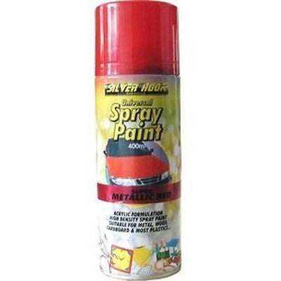 2 x Silverhook METALLIC RED - Universal Spray Paint  400ml - Taxi-Mart Shop