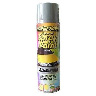 12 x Silverhook ALUMINIUM EFFECT Universal Spray Paint 500ml - Taxi-Mart Shop