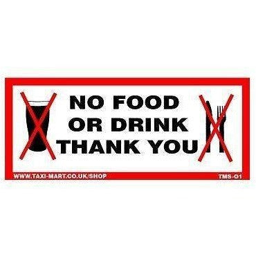 No Food Or Drink Thank You.... Taxi Sticker - Taxi-Mart Shop
