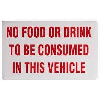 No Food Or Drink To Be Consumed In This Vehicle.... Taxi Sticker - Taxi-Mart Shop
