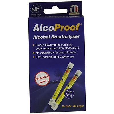 Alcoproof Twin Pack - Single Use Breathalysers - Legal Requirement In France - Taxi-Mart Shop