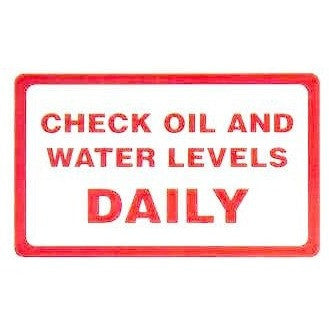 Check Oil And Water Daily.... Taxi Sticker - Taxi-Mart Shop