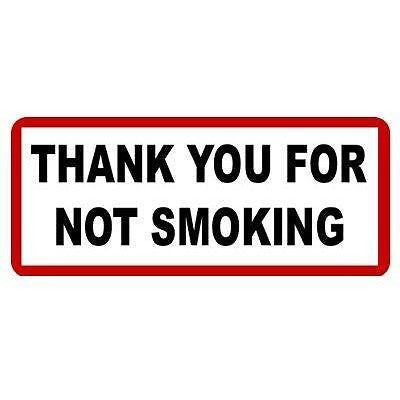 Thank You For Not Smoking.... Oblong Taxi Sticker - Taxi-Mart Shop