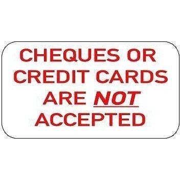 Cheques And Credit Cards Not Accepted.... Taxi Sticker - Taxi-Mart Shop