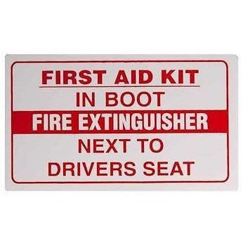First Aid Kit In Boot/Fire Extinguisher Next To Drivers Seat.... Taxi Sticker - Taxi-Mart Shop