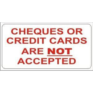 Cheques And Credit Cards Not Accepted.... Taxi Window Sticker - Taxi-Mart Shop