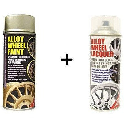 E-Tech DRIFT GOLD Alloy Wheel Paint + E-Tech CLEAR LACQUER 2 x 400ml Cans - Taxi-Mart Shop