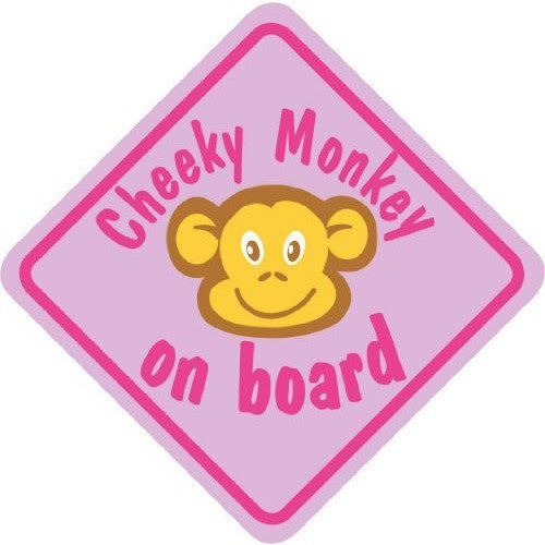 Castle CHEEKY MONKEY ON BOARD Pink Diamond Hanging Car Window Sign - Taxi-Mart Shop