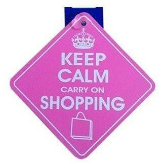 Castle KEEP CALM CARRY ON SHOPPING Diamond Hanging Car Window Sign DH33 - Taxi-Mart Shop