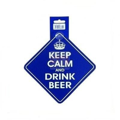 Castle KEEP AND CALM DRINK BEER  Diamond Hanging Car Window Sign DH34 - Taxi-Mart Shop