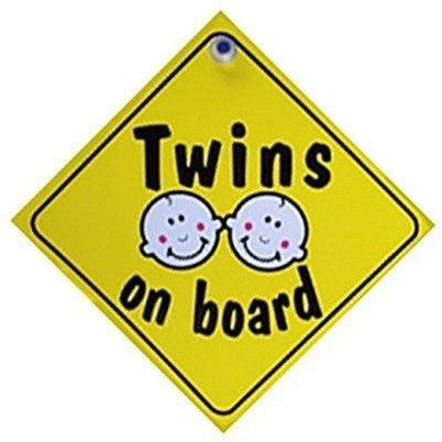 Castle TWINS ON BOARD Diamond Hanging Car Window Sign - Taxi-Mart Shop
