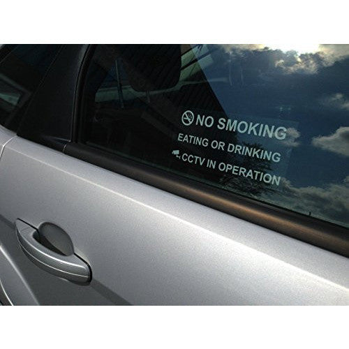 NO SMOKING EATING OR DRINKING CCTV IN OPERATION Taxi Window Sticker - Taxi-Mart Shop
