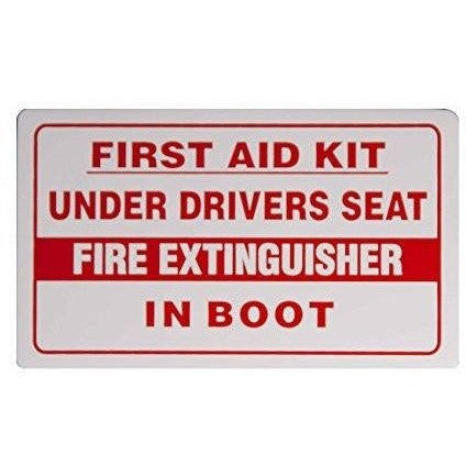 FIRST AID KIT UNDER DRIVERS SEAT FIRE EXTINGUISHER IN BOOT Taxi Sticker - Taxi-Mart Shop