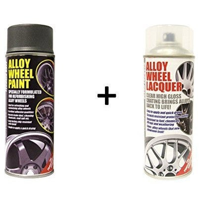 E-Tech ANTHRACITE TECHNIC GREY Alloy Wheel Paint + E-Tech CLEAR LACQUER 2 x 400ml Cans - Taxi-Mart Shop