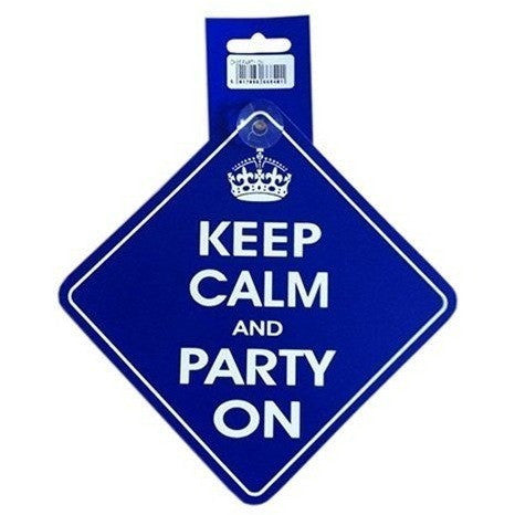 Castle KEEP CALM AND PARTY ON Diamond Hanging Car Window Sign DH35 - Taxi-Mart Shop