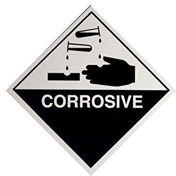 Corrosive Self Adhesive Warning Sticker Decal ADR Hazchem UN Compliant 100mm Square - Taxi-Mart Shop