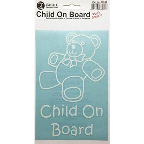 Castle Child On Board Car Graphic Stickers, White - Taxi-Mart Shop