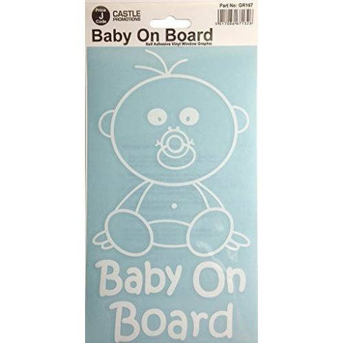 Castle GR167 Baby On Board Car Graphic Stickers, White - Taxi-Mart Shop