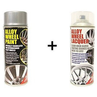 E-Tech METALLIC SILVER Alloy Wheel Paint + E-Tech CLEAR LACQUER 2 x 400ml Cans - Taxi-Mart Shop