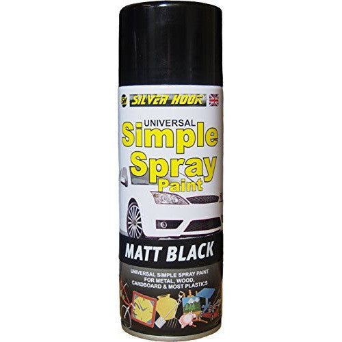 2 x Silverhook Matt Black Simple Universal Acrylic Spray Paint 400 milliliter - Taxi-Mart Shop