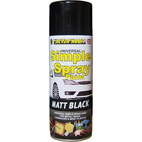 Silverhook Matt Black Simple Universal Acrylic Spray Paint 400 milliliter - Taxi-Mart Shop