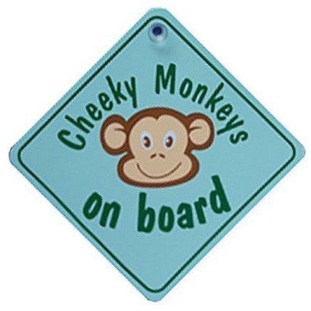 Castle CHEEKY MONKEY ON BOARD Green Diamond Hanging Car Window Sign - Taxi-Mart Shop