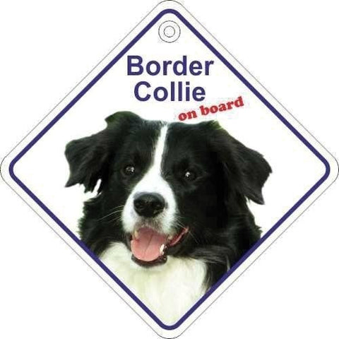 Border Collie On Board Diamond Car Window Hanger - Taxi-Mart Shop