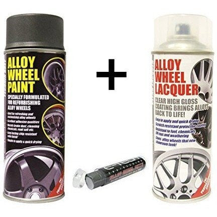 E-Tech ANTHRACITE TECHNIC GREY Alloy Wheel Paint + E-Tech CLEAR LACQUER 2 x 400ml Cans + E-Tech Filler Putty - Taxi-Mart Shop