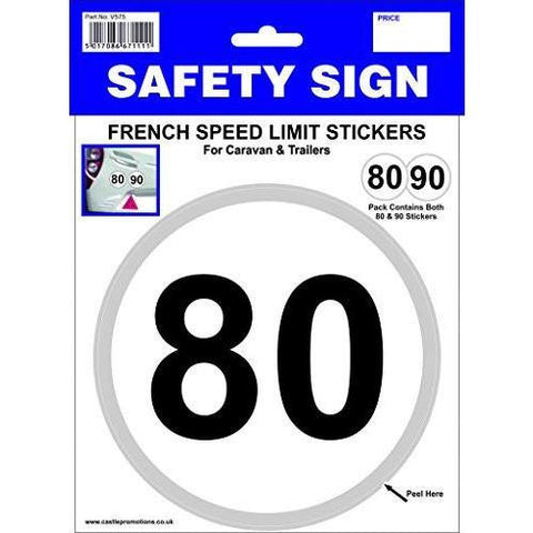 80 and 90 KMH French Speed Towing Stickers - Taxi-Mart Shop