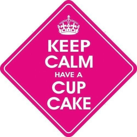 Castle KEEP CALM AND HAVE A CUP CAKE Diamond Hanging Car Window Sign - Taxi-Mart Shop