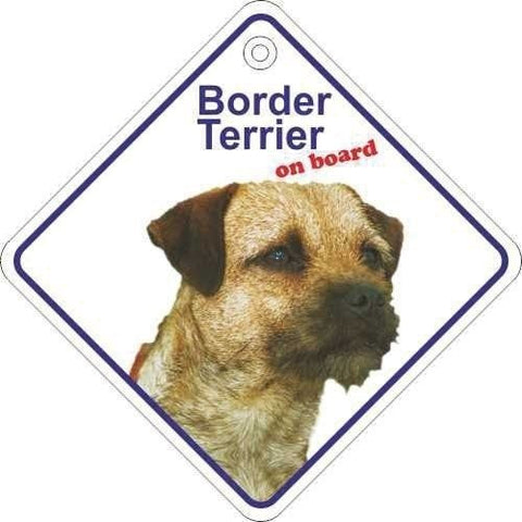 Border Terrier On Board Diamond Car Window Hanger - Taxi-Mart Shop