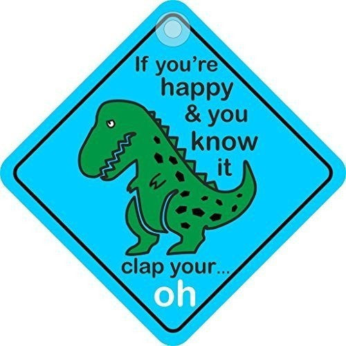 If Your Happy & You Know It Clap Your Oh... Novelty Diamond Hanging Car Window Sign - Taxi-Mart Shop