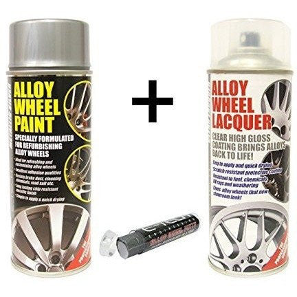 E-Tech METALLIC SILVER Alloy Wheel Paint + E-Tech CLEAR LACQUER 2 x 400ml Cans + E-Tech Filler Putty - Taxi-Mart Shop