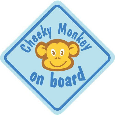 Castle CHEEKY MONKEY ON BOARD Blue Diamond Hanging Car Window Sign - Taxi-Mart Shop