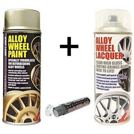 E-Tech DRIFT GOLD Alloy Wheel Paint + E-Tech CLEAR LACQUER 2 x 400ml Cans + E-Tech Filler Putty - Taxi-Mart Shop