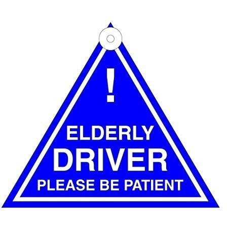 Elderly Driver Please Be Patient Hanging Car Window Graphic/Sign/Decal - Taxi-Mart Shop