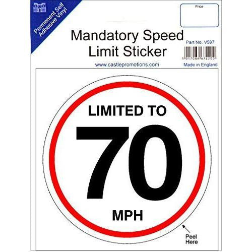 Mandatory Speed Limit Sticker 'Limited To 70 MPH' - Taxi-Mart Shop