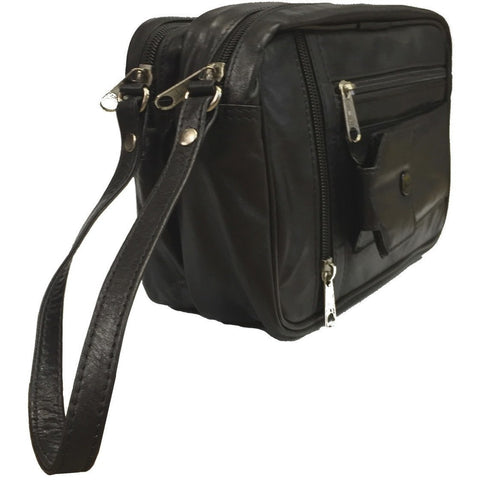 Taxi Driver Bag Black - Double Compartment Genuine Leather Taxi Driver Money Bag [530] - Taxi-Mart Shop