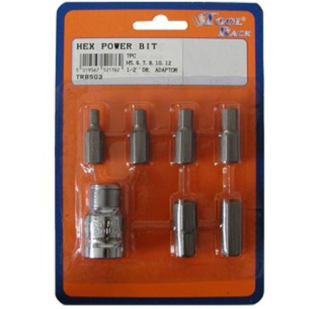 Hexagon Power Bit Set 1/2 Inch Drive 7 Piece Set TRBS03 - Taxi-Mart Shop